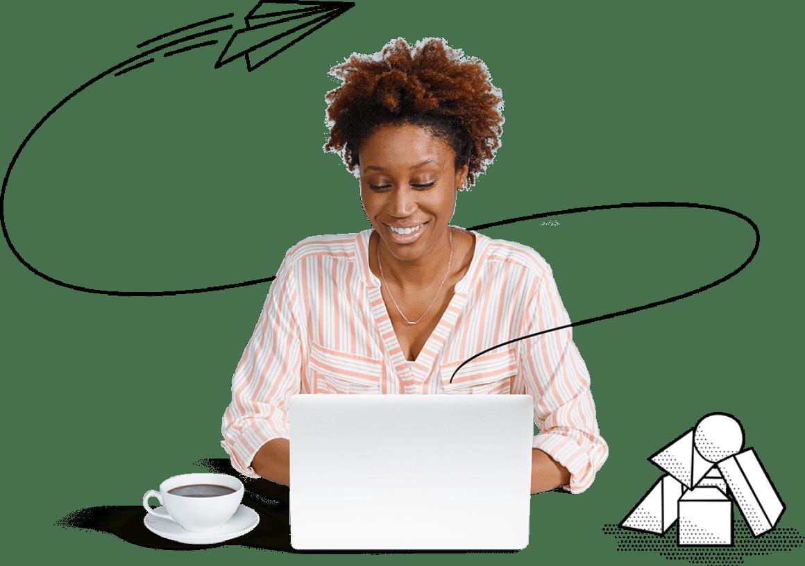 Happy female stenographer using laptop